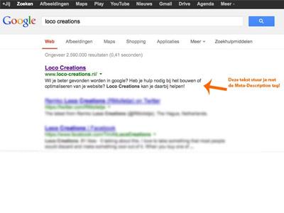 illustratie Google resultaat bij artikel over gebruik Meta-Description