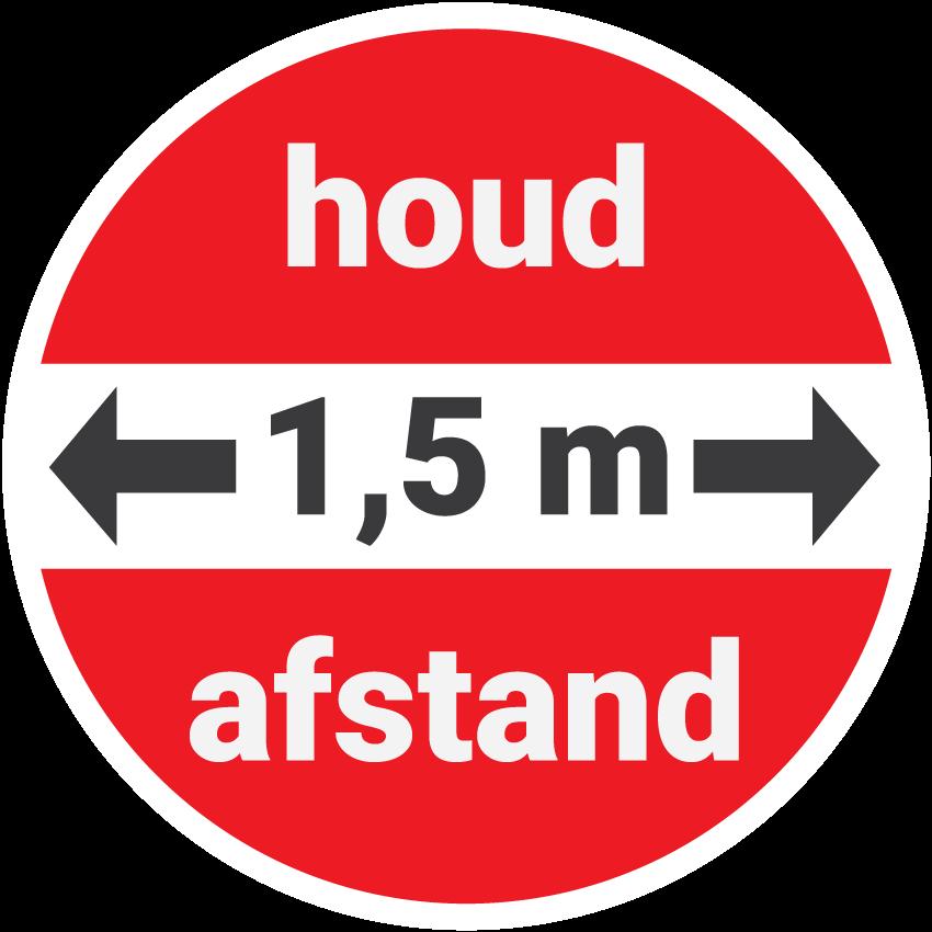 Illustratie sticker 'Houd anderhalve meter afstand'
