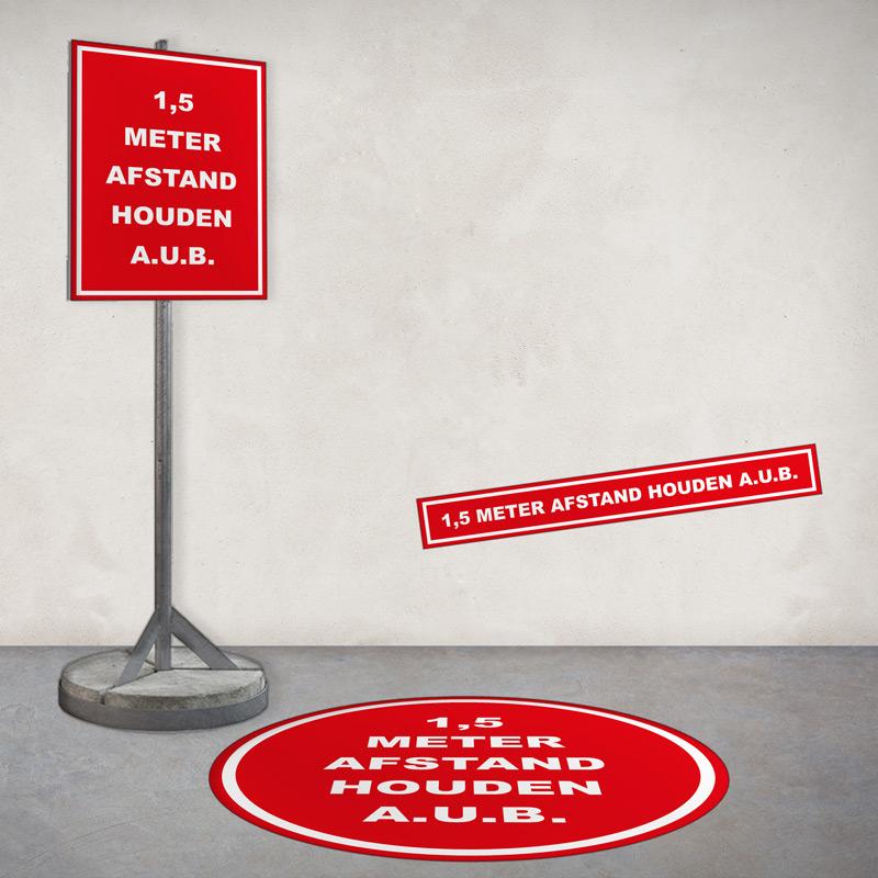 signing voorbeelden, stickers, bord '1,5 meter afstand houden'