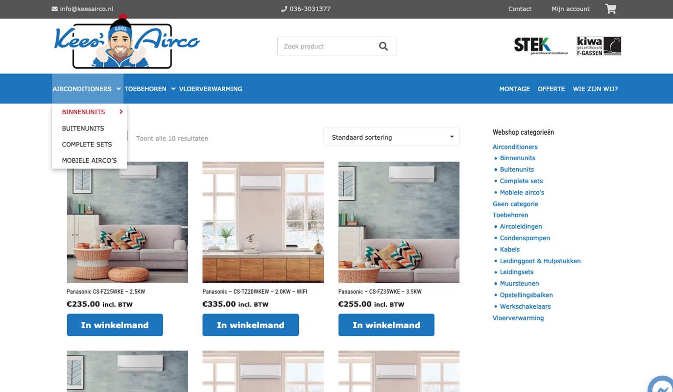 Productoverzicht Kees Airco website - gebouwd door VoordenBakker