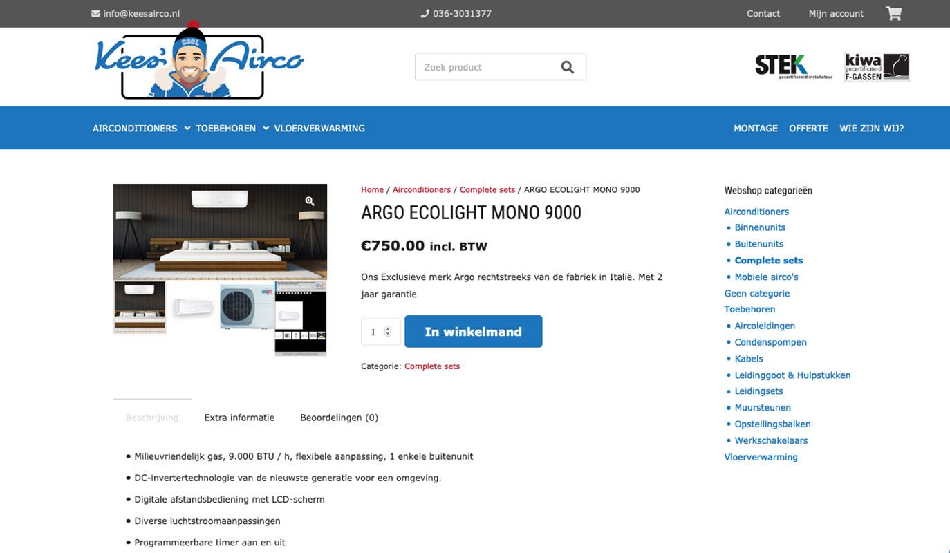 Productdetail Kees Airco website - gebouwd door VoordenBakker