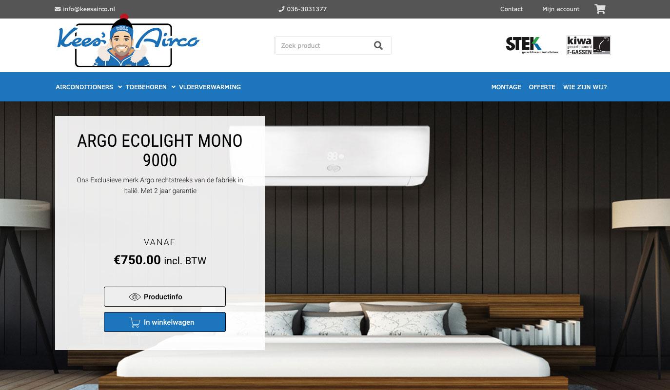 Voorpagina Kees Airco website - gebouwd door VoordenBakker
