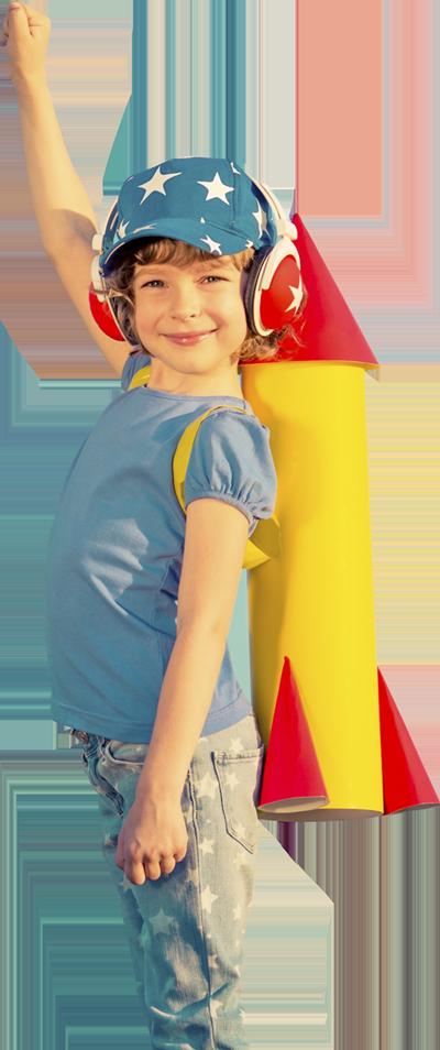 Raketmeisje vrijstaand - mascotte VoordenBakker Communicatie Den Haag